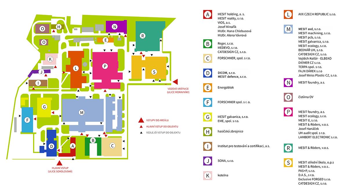 Mapa areálu MESIT